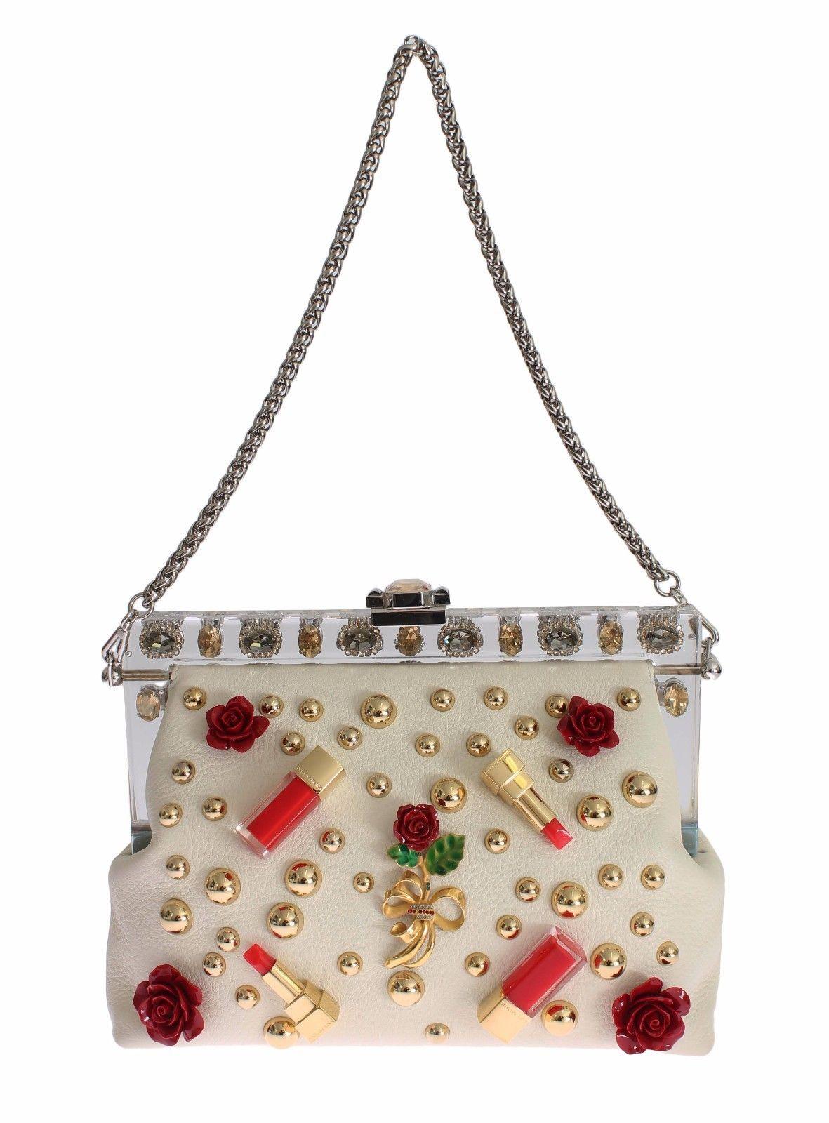 037f821a421e Purse VANDA Beige Leather Crystal Lipstick Roses. Dolce   Gabbana