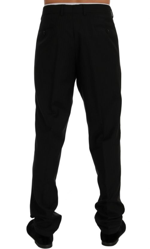 Black Striped Wool Stretch Pants, Fashion Brands Outlet