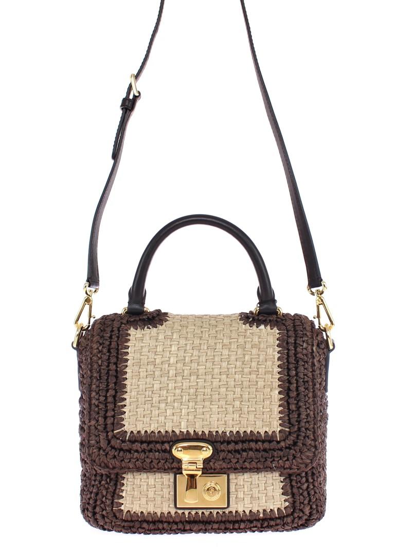 8dee16037296 Dolce   Gabbana Brown Raffia Leather Messenger Bag • Stock Fashion