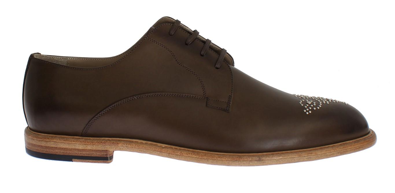 dea2fa14d08f3 Dolce & Gabbana Olive Brown Leather MARSALA Men Dress Shoes • Top ...