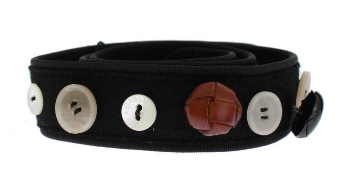 Black Viscose Wool Button Waist Belt.   482.81   179.87 Dolce   Gabbana 451450fd12525