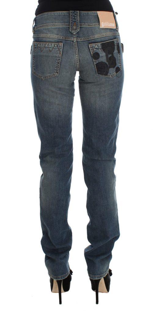 Blue Wash Cotton Blend Slim Fit Bootcut Jeans, Fashion Brands Outlet