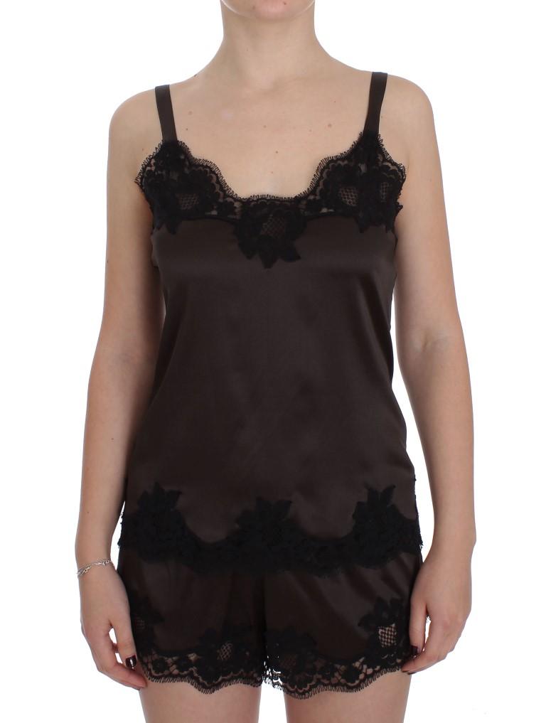 fafaec81ba0684 Dolce & Gabbana Brown Silk Stretch Lace Lingerie Top • Top Fashion ...