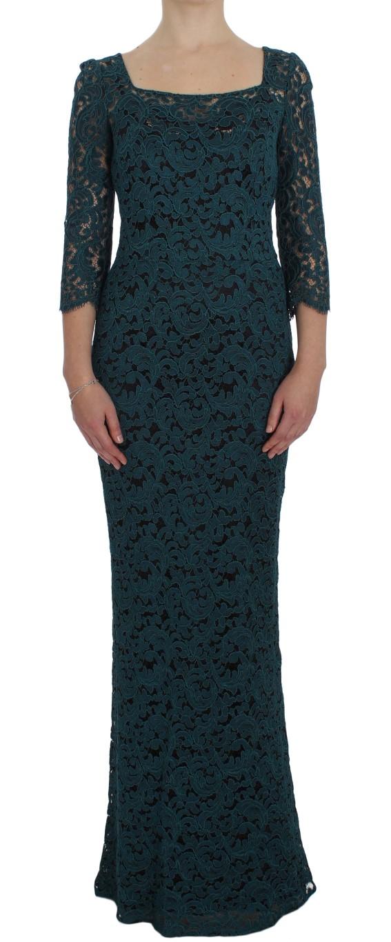 cf3c92ec Dolce & Gabbana Blue Floral Lace Bodycon Maxi Ball Dress • Top ...
