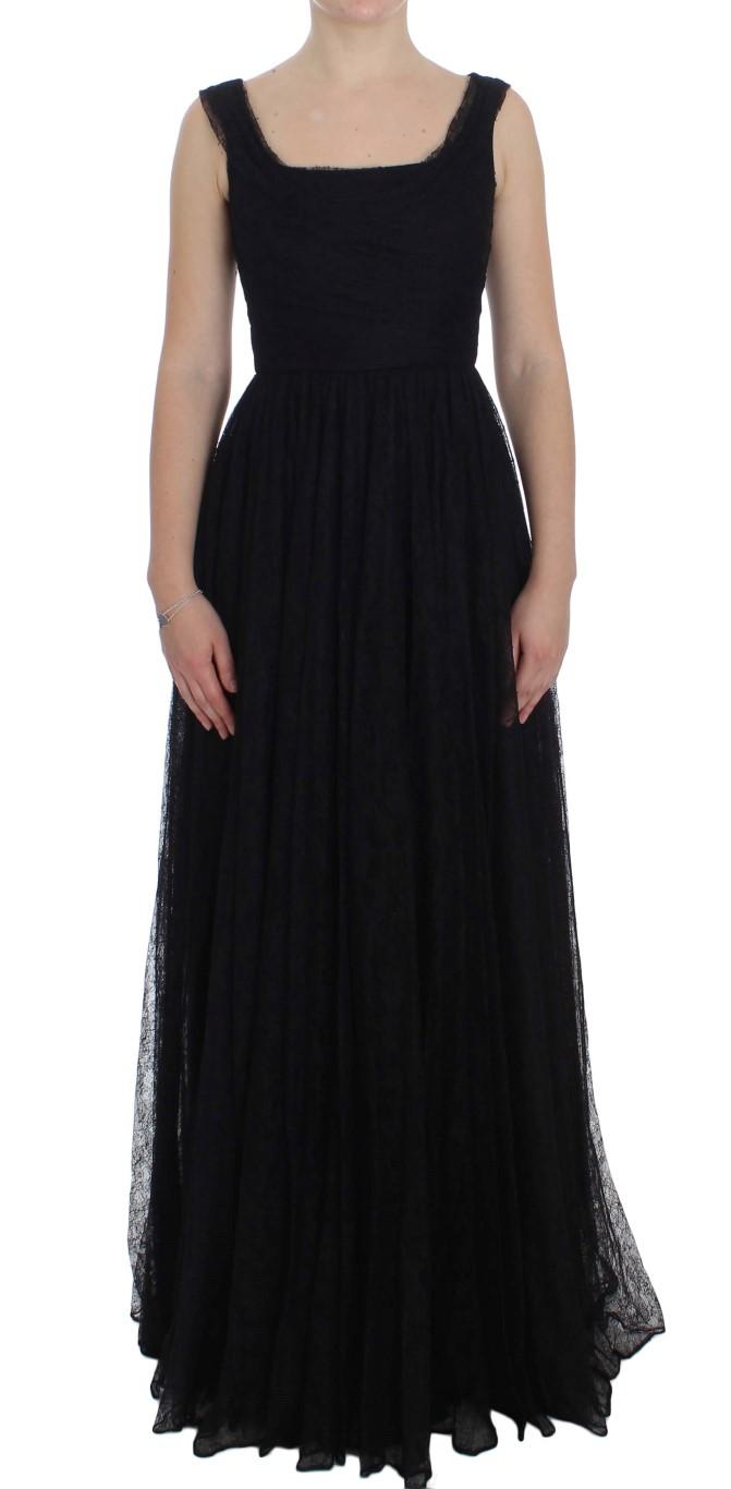 ce9e4f386ac Dolce   Gabbana Black Floral Lace Sheath Maxi Dress • Top Fashion Brands