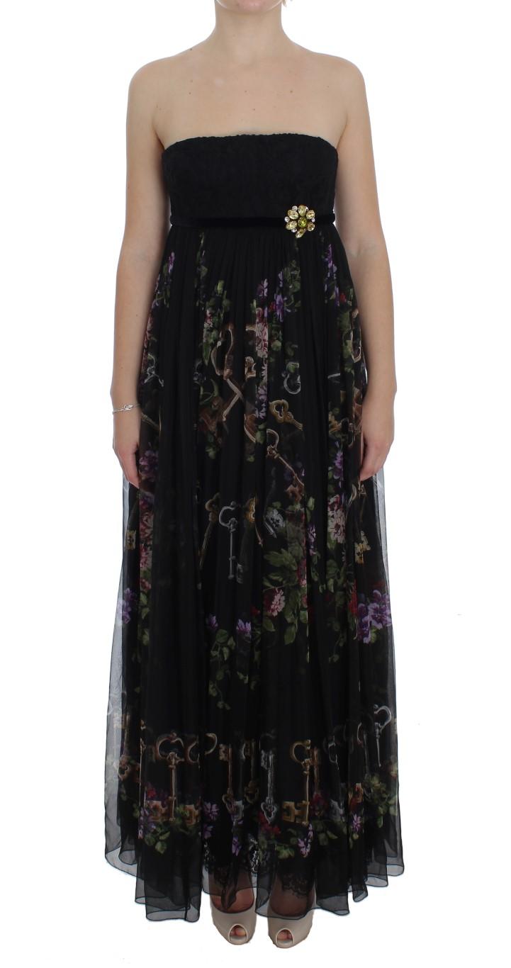 3592a76f ... Black Key Print Silk Crystal Brooch Dress. Sale! 🔍. Dolce & Gabbana