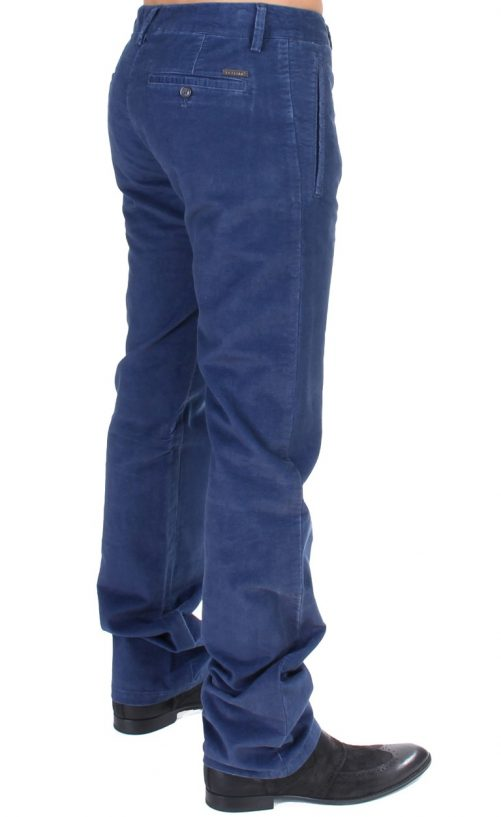 Blue Cotton Straight Fit Casual Pants, Fashion Brands Outlet