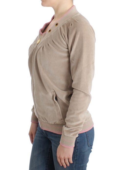 Beige velvet zipup sweater, Fashion Brands Outlet