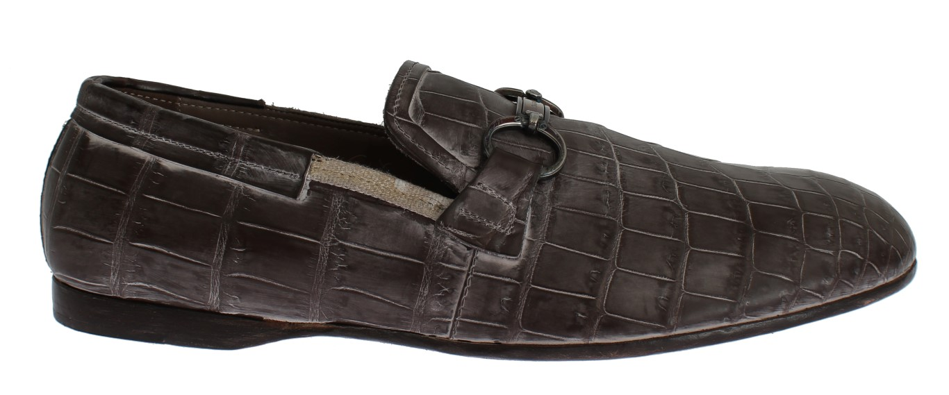21991198023 Dolce   Gabbana Brown Crocodile Loafers Dress Formal Shoes • Top ...