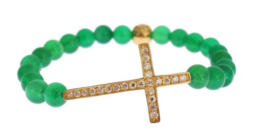 Jade Stone Gold CZ Cross 925 Silver Bracelet, Fashion Brands Outlet