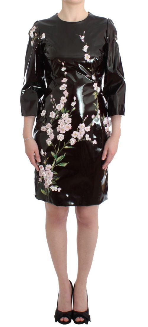 Black patent floral HANDPAINTED dress, Fashion Brands Outlet