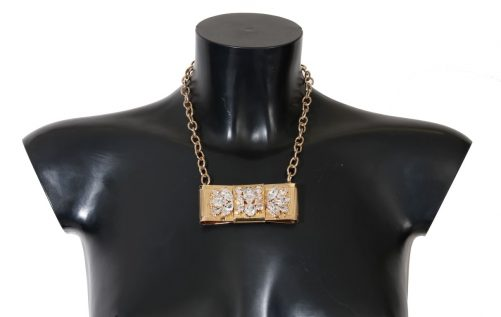 Gold Brass Clear Crystal Bow Necklace, Fashion Brands Outlet