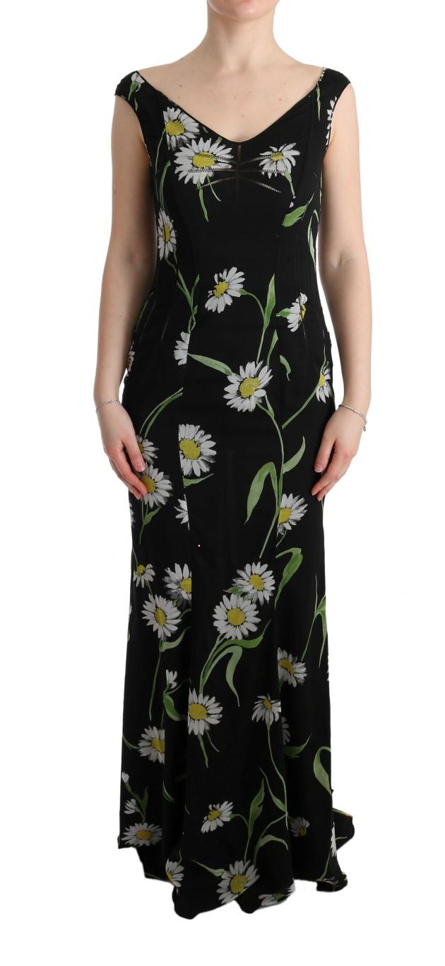 68b458e626fc3 Dolce & Gabbana Sunflower Silk Stretch Sheath Dress • Top Fashion Brands