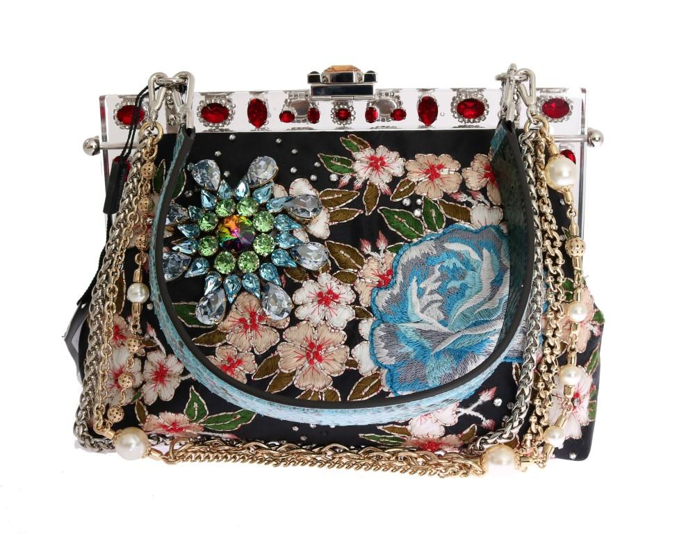 f5ef4ba092 Dolce   Gabbana Multicolor VANDA Floral Embroidered Bag • Top ...