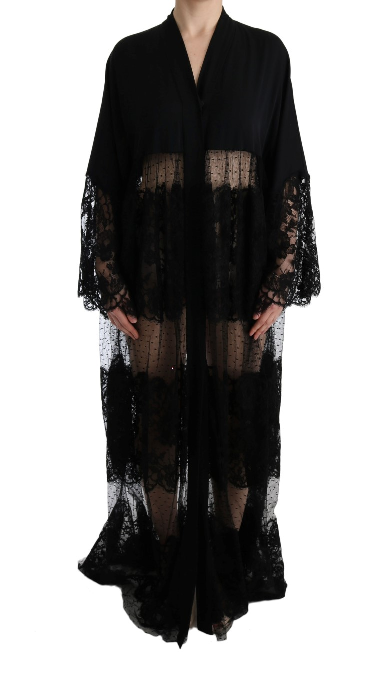 a110f8d0 Dolce & Gabbana Black Silk Floral Lace Kaftan Dress • Top Fashion Brands