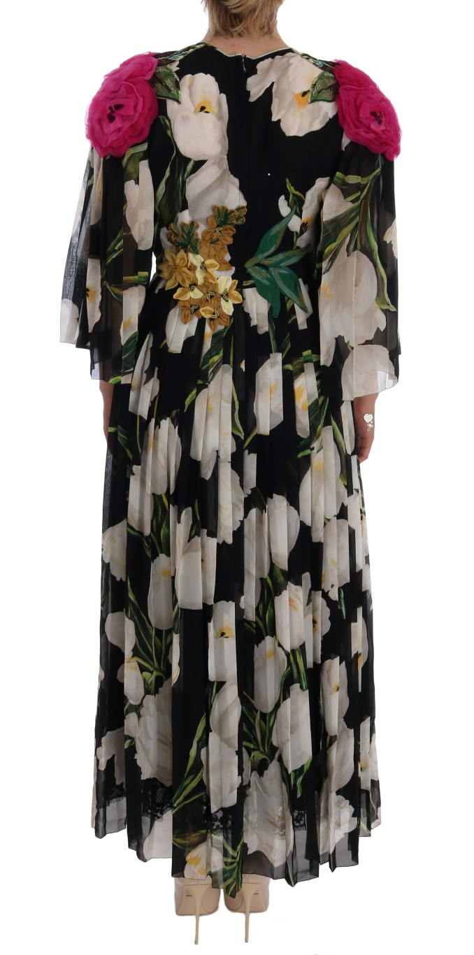 dbb201bb Dolce & Gabbana Black Silk Floral Tulip Dress • Top Fashion Brands