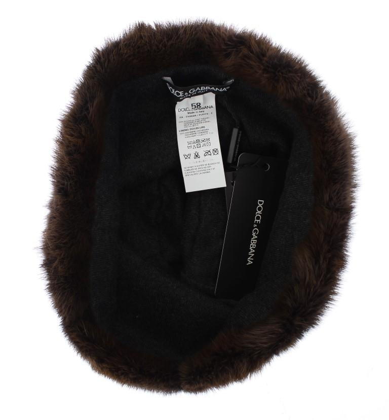 Dolce   Gabbana Brown Weasel Fur Womens Cashmere Hat Beanie • Stock ... 63b4286163c