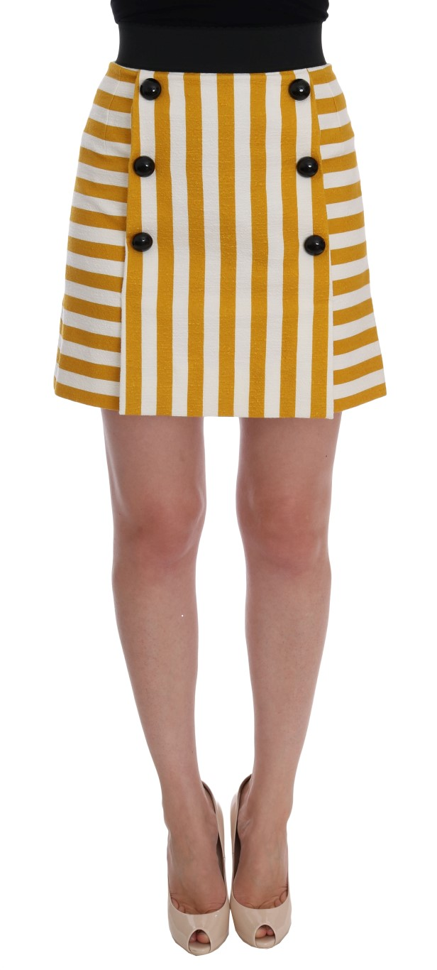 537c03ee3c Dolce & Gabbana Yellow White Striped Cotton Skirt • Top Fashion Brands