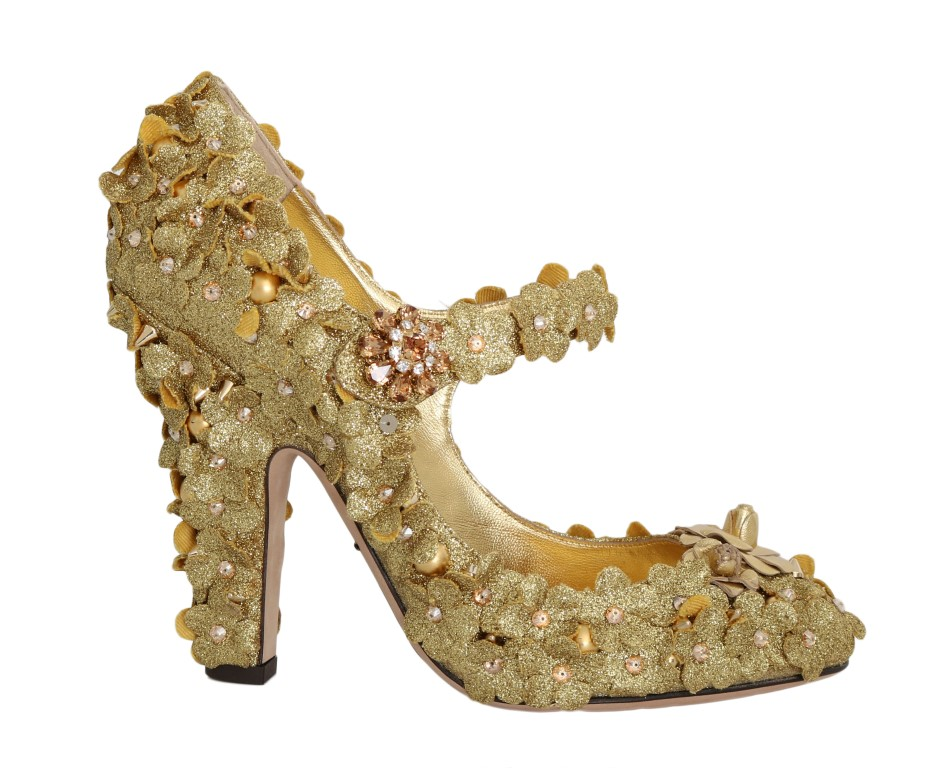 1086d338fb63 ... Gold Glitter Leather Floral Crystal Shoes. Sale! 🔍. Dolce & Gabbana