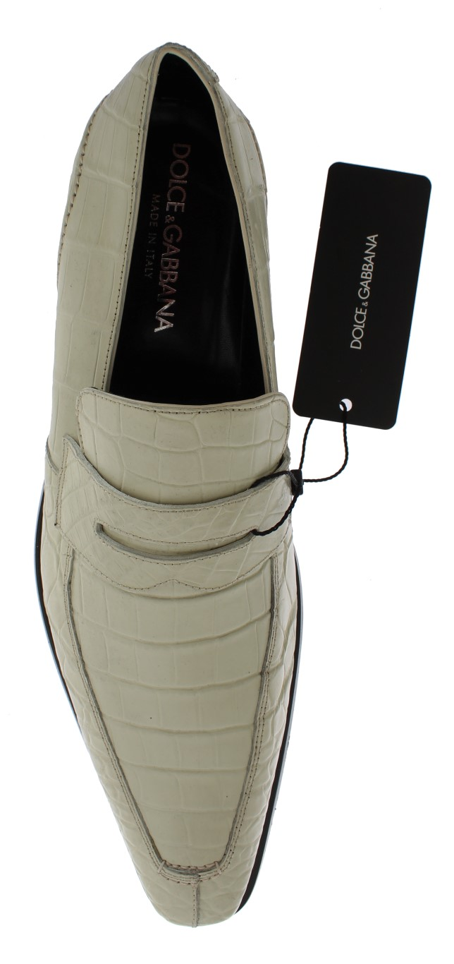 5ea49bb4465 Dolce   Gabbana White Crocodile Skin Loafers Dress Shoes • Top ...
