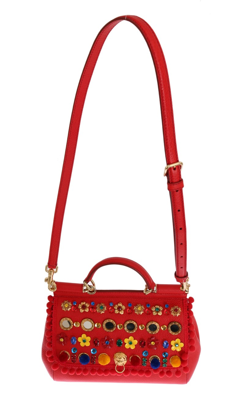 Dolce   Gabbana Red Leather Crystal SICILY Bag • Stock Fashion ... e3b519acd7