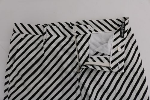 White Black Striped Cotton Slim Fit Pants, Fashion Brands Outlet