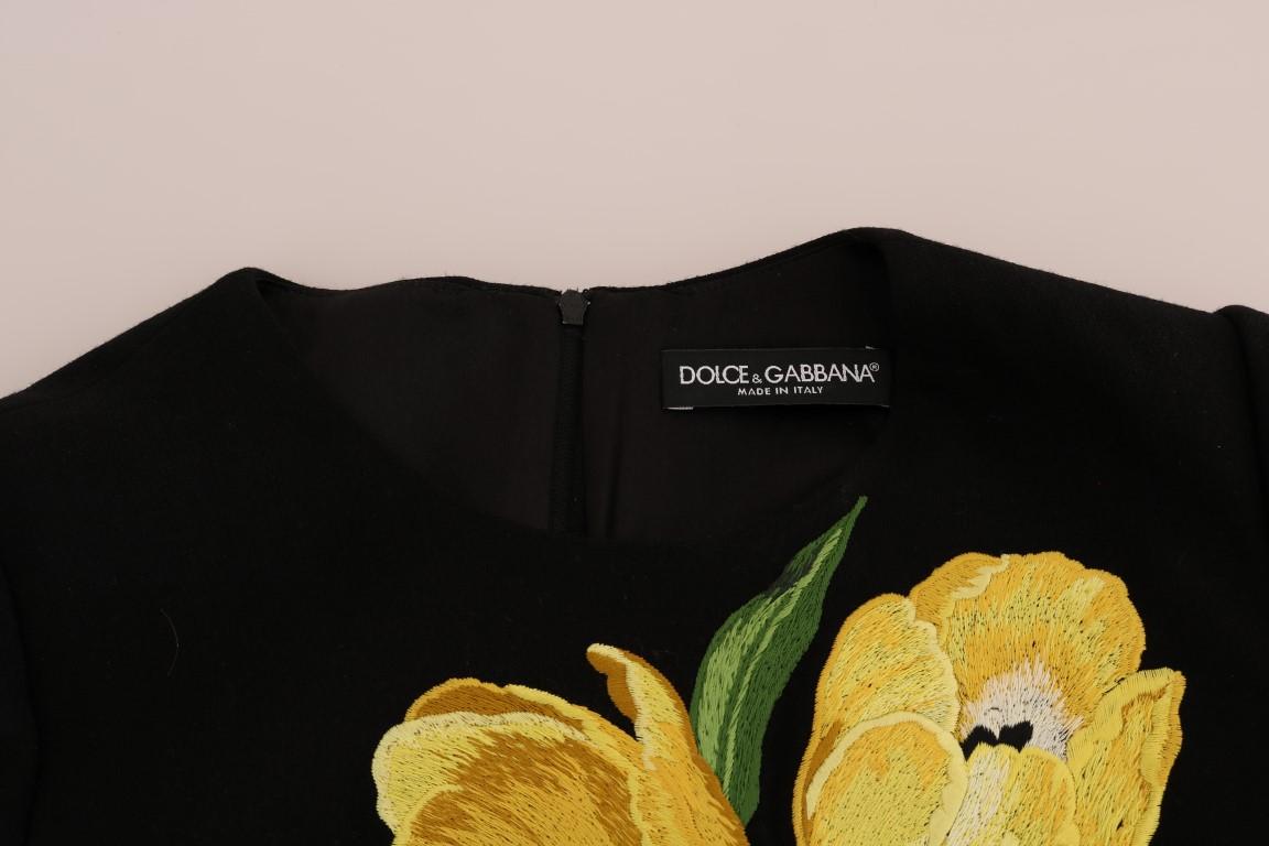 d1c2a5f5 Dolce & Gabbana Black Yellow Tulip Wool Stretch Dress • Top Fashion ...