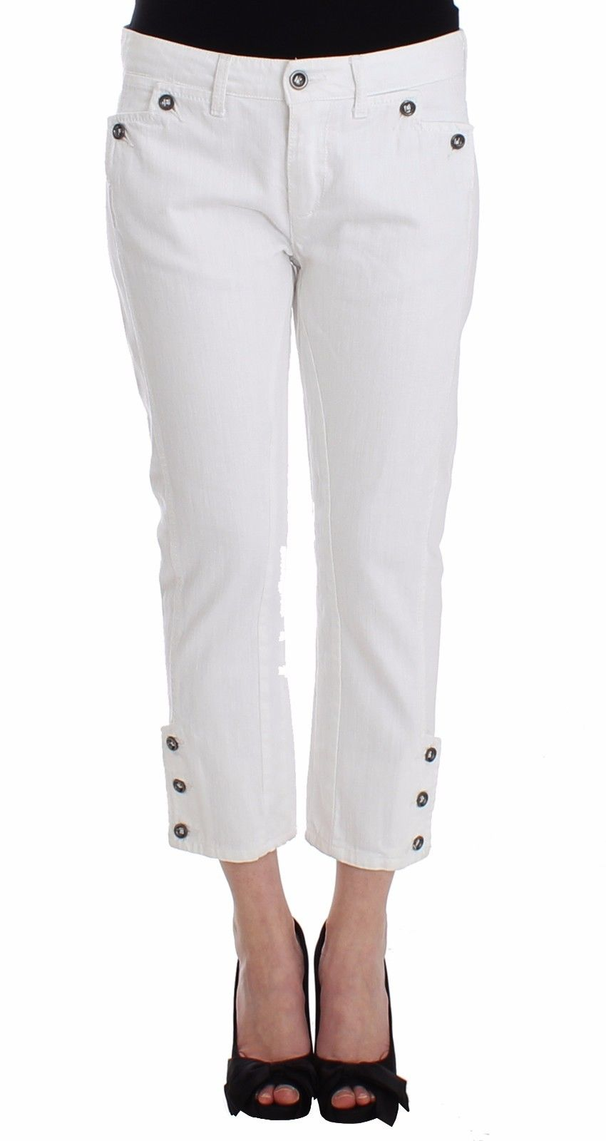 eca8e743d41d Ermanno Scervino White Cropped Jeans Denim Pants Branded Capri • Top ...