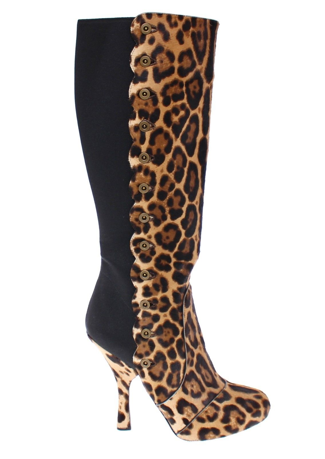 50de081db5cd Dolce & Gabbana Brown Leopard Fur Leather Heel Logo Boots • Top ...