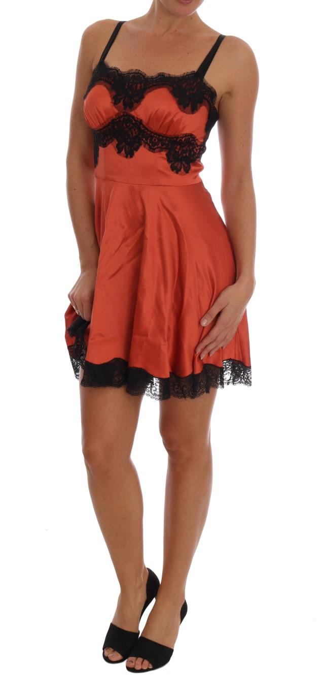 22edf000e43295 Dolce & Gabbana Orange Silk Stretch Black Lace Lingerie Dress • Top ...