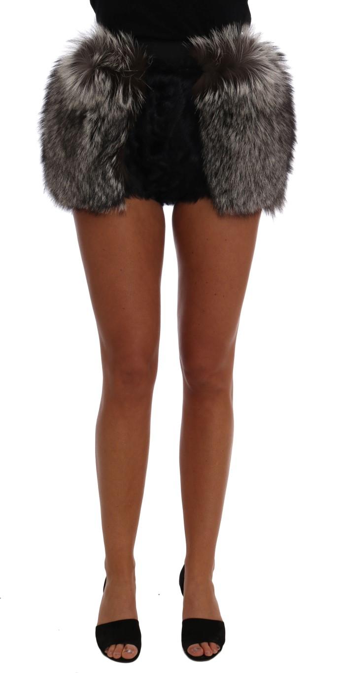 ebad45cec Dolce & Gabbana Black Lamb Fox Fur Mini Hot Pants • Top Fashion Brands