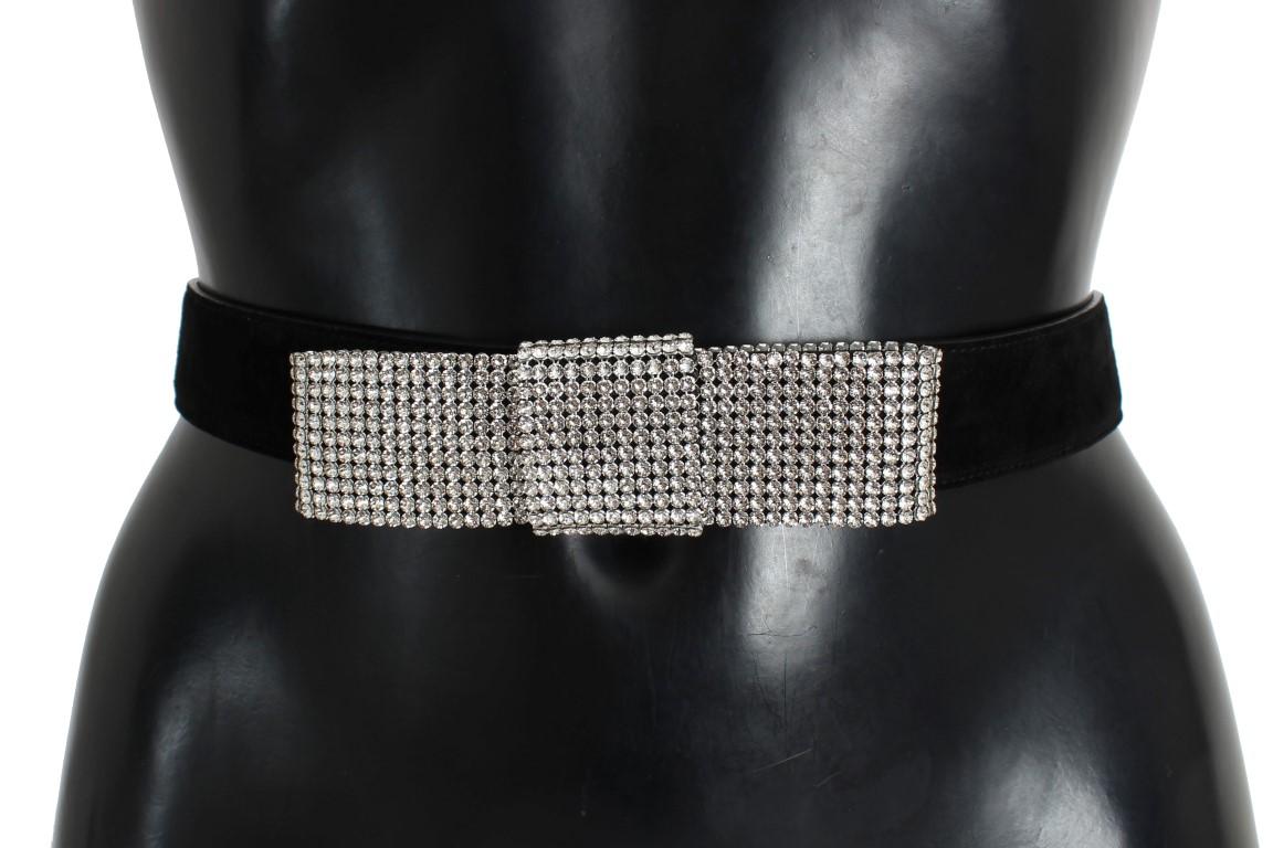 Dolce   Gabbana Black Suede Swarovski Crystal Waist Belt • Top ... 44a16bdebc769
