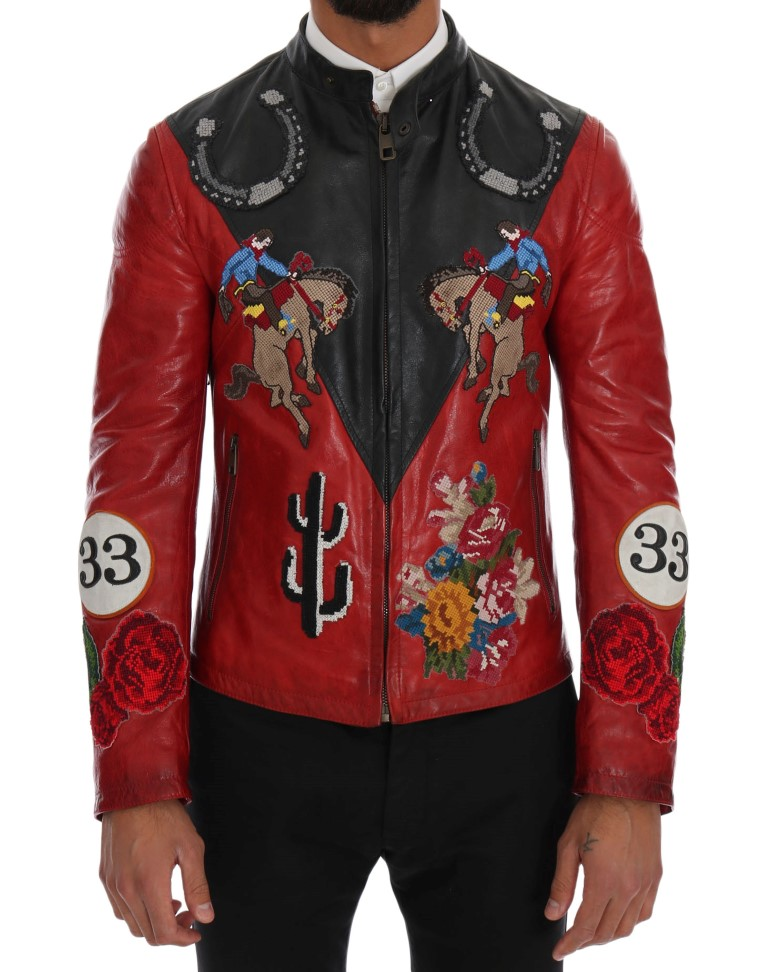 b80a5c8747a91 Dolce   Gabbana Black Red Leather Cowboy Embroidered Jacket • Top ...