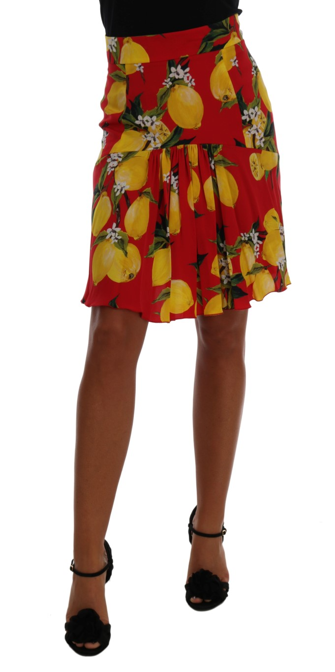 1c3973b2d Dolce & Gabbana Red Lemon Print Pleated Skirt • Top Fashion Brands
