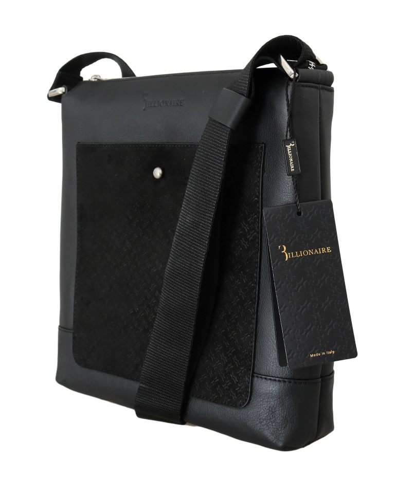 Billionaire Italian Couture Black Leather Messenger Shoulder Bag ... 88bfc6becdcfd