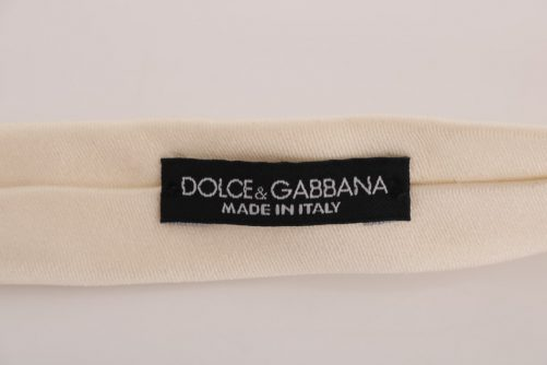 Creme White Solid Silk Tie, Fashion Brands Outlet