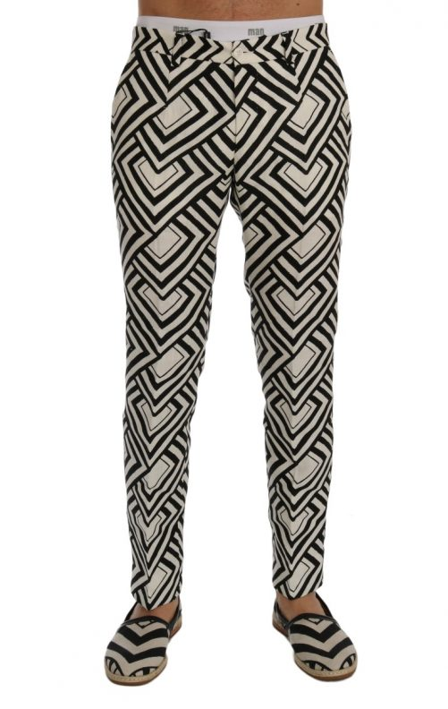 White Black Striped Linen Casual Pants, Fashion Brands Outlet