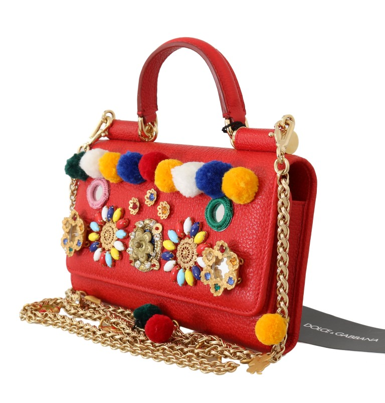 c5020a2238ec ... Red VON Leather Crystal Carretto POM POM Bag. Sale! 🔍. Dolce   Gabbana