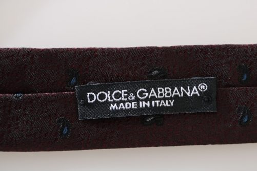 Bordeaux 100% Silk Pattern Slim Tie, Fashion Brands Outlet