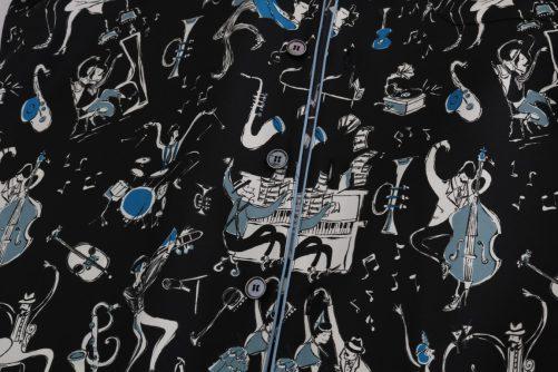 Black Silk JAZZ Motive Print Casual Shirt, Fashion Brands Outlet