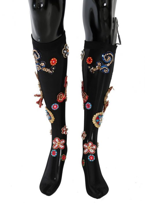 Black Stretch Carretto Crystal Socks, Fashion Brands Outlet