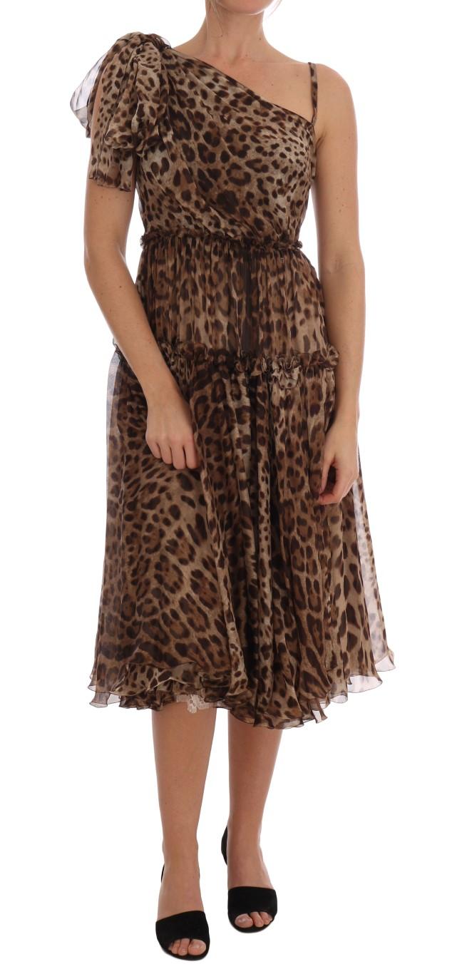 a759aa02e2ab0 Dolce   Gabbana Brown Leopard Silk One Shoulder Dress • Top Fashion ...