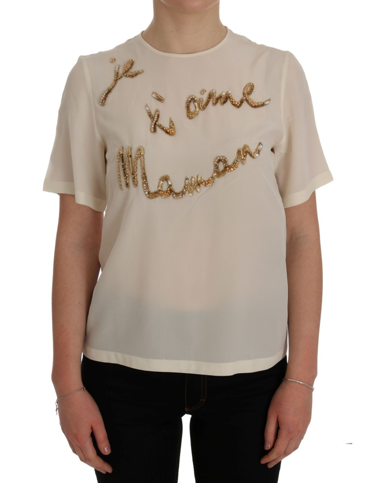 f266df4940d647 Dolce   Gabbana White Crystal Je t aime Maman Sequined Blouse • Top ...