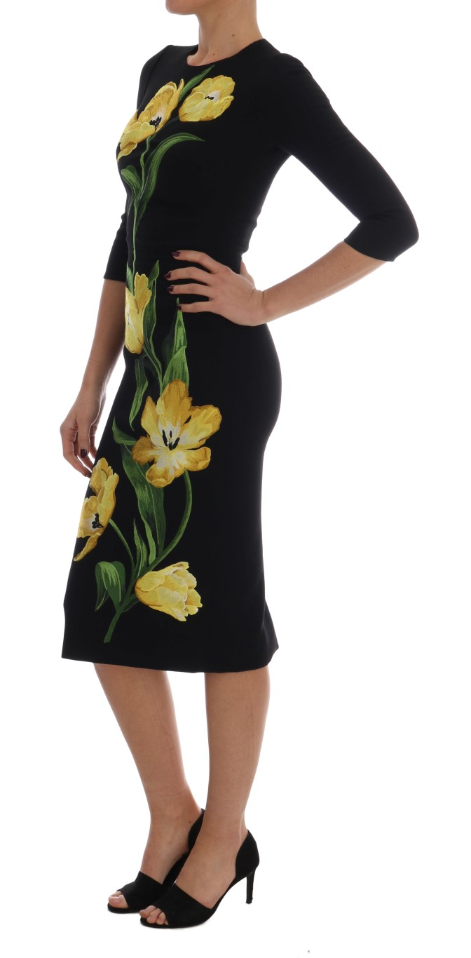 d5ef302a ... Black Yellow Tulip Wool Crêpe Sheath Dress. Sale! 🔍. Dolce & Gabbana