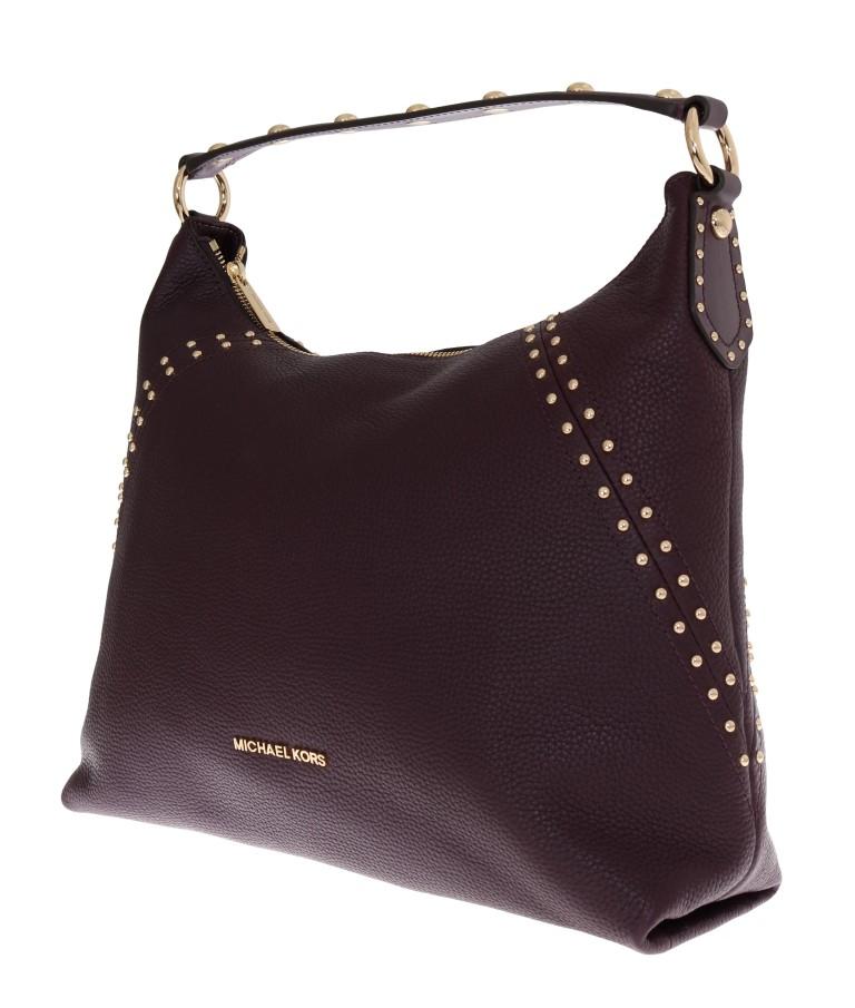 Michael Kors Bordeaux Aria Leather Shoulder Bag Top Fashion Brands