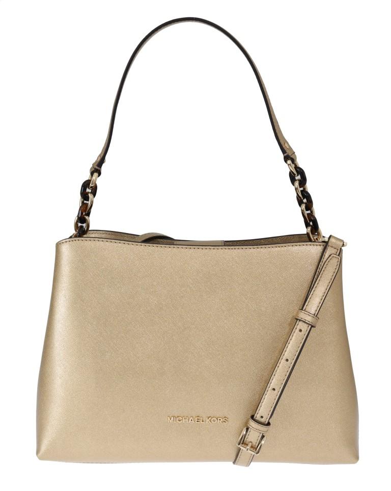 65c2740f1dd345 Michael Kors Handbags Gold SOFIA Leather Satchel Bag • Top Fashion ...
