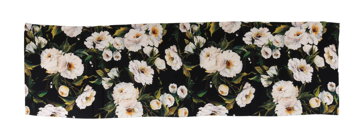 Dolce /& Gabbana Black White Tulip Silk Scarf