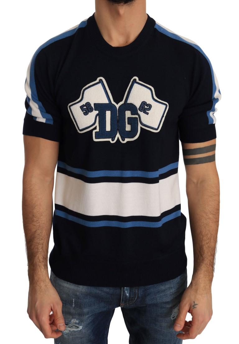 cbc41a95ee Dolce & Gabbana Blue Wool DG Pullover T-Shirt • Top Fashion Brands