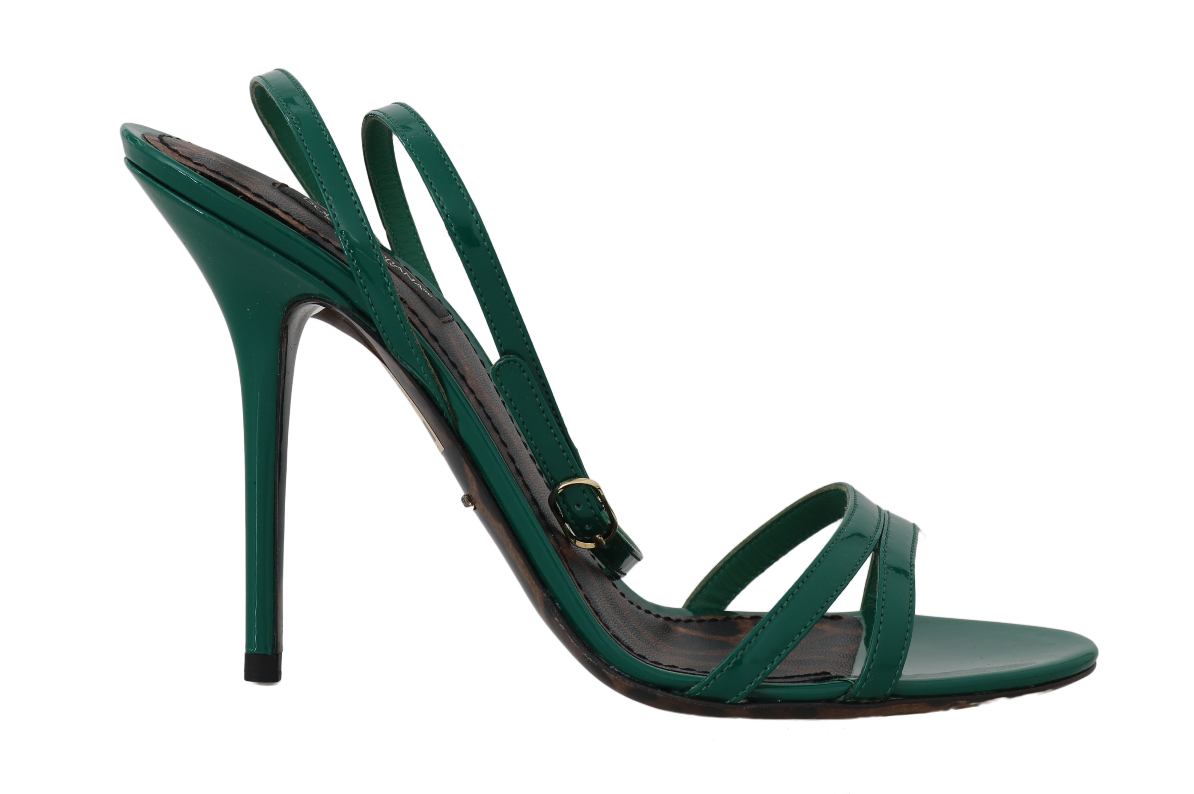5d7a2d34e Dolce & Gabbana Green Leather Stiletto Heels Sandals • Top Fashion ...