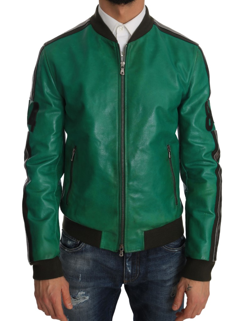 a0fdde11e Green Leather 84 Motive Bomber Jacket